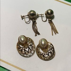 Duo of unique clip-on earrings